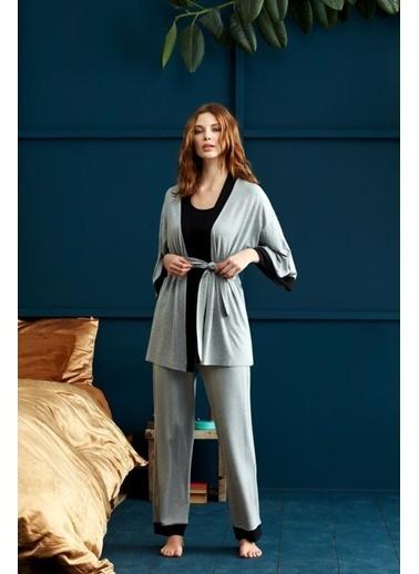 Penye Mood 8925 Üçlü Battal Pijama Takım Gri